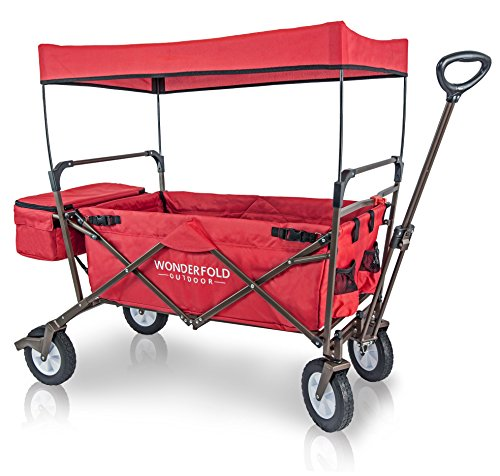 WonderFold Outdoor Value Model Collapsible Folding Wagon with Canopy - 180 Degree Steering Telescoping Handle (Ruby Red) by WonderFold Outdoor