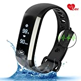 Parnerme Waterproof Fitness Tracker Wrist Based Heart Rate Tracker, Blood Oxygen Tracking,Pedometer Calorie Sleep Monitor for Android and iOS(black)