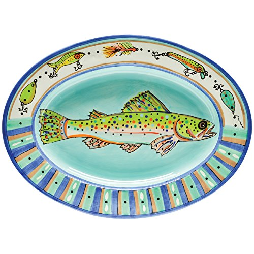 Thompson   Elm Dana Wittmann Collection Ceramic Oval Serving Tray  19 75 X 14 5 Inches  Speckled Trout