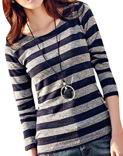 Earnest Women's Loose Fit Stripe Print Long Sleeve Tee Shirts 1 -