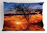 Lunarable Nature Pillow Sham, The Time When The Sun Disappears or Day Fading Image with Oak Tree Mirror Effect, Decorative Standard King Size Printed Pillowcase, 36 X 20 inches, Orange Blue