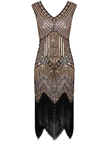 Vijiv Women 1920s Gastby Sequin Art Nouveau Embellished Fringed Flapper Dress Glam Gold X-Small -