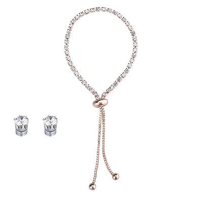 New Popular Diamond Rhinestone Bracelet Earrings Set Adjustable Friendship Bracelet Fashion Personalized Gift Rose Gold: Clothing