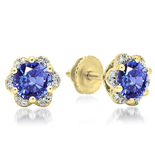 - 10K Yellow Gold Round Tanzanite & White Diamond Ladies Flower Shape Cluster Fashion Stud Earrings