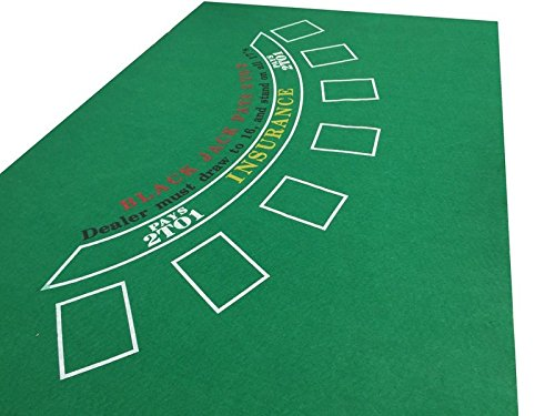 GREEN BLACKJACK BLACK JACK CASINO FELT BAIZE LAYOUT + PLAYING CARDS