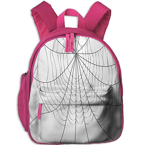 (Haixia Teen's Boys&Girls School Backpack with Pocket Spider Web Close Up Cobweb Design Monochrome Design Elements Catching Network Fear Decorative Grey Black White)