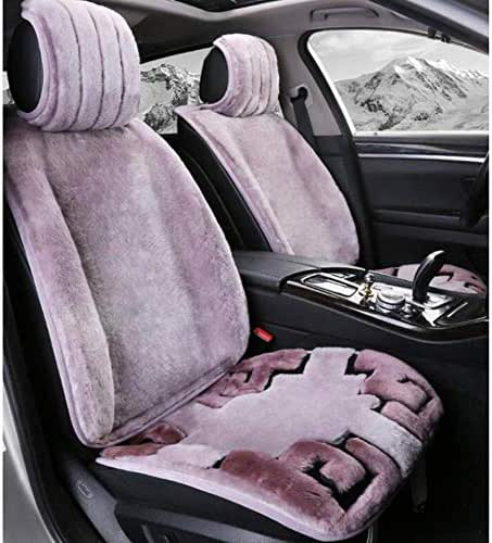 DSFGHE Car Seat Cover Car Seat Cushion Luxurious Pure Wool Velvet Fur Cushion 5 Seat Universal Fit for Automobile Warm in Winter,D,Purple