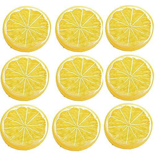 Lemon Slices - IETONE 30 Pieces Artificial Plastic Simulation Fake Lemon Slices Lifelike Decorative Fake Fruit-Yellow