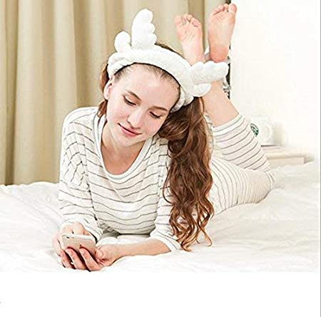 Spaufu Christmas Headband Flannel Cute Ears Horns Hair Wrap Makeup Facial Cleaning Shower Hair Wrap Band Towel Cloth Elastic Soft Women Girls Daily Hair Accessory Brown