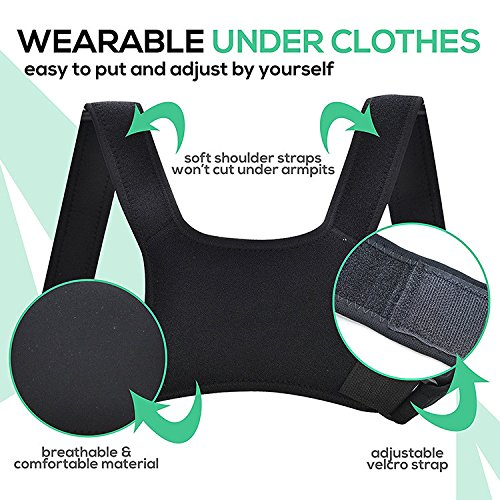 Upper Back Posture Corrector for Men and Women-Clavicle and Shoulder Support-Relieve Pain-Prevent Slouching-Comfortable-Easy to Use-Resistance Band and Carry Bag Included by A2Z XPERT (Image #8)