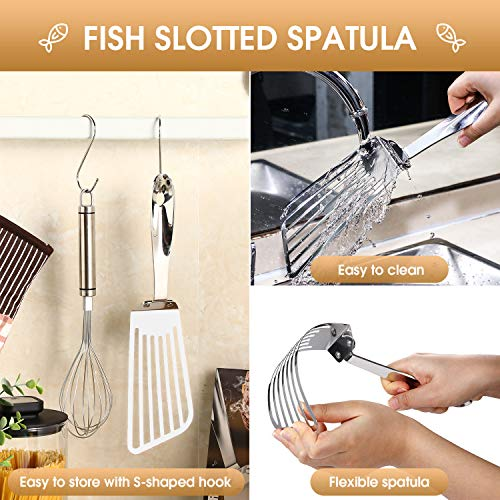 Fish Spatula, Stainless Steel Flexible Slotted Spatula with 2 S-shaped Hook, Spatula Slotted Turner for Cooking Egg Meat Fish, Multi-tool for Kitchen