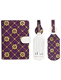 Japanese Cherry Blossom Print RFID Blocking Passport Case with Pen Holder and 2 Matching Luggage Tags (Purple)