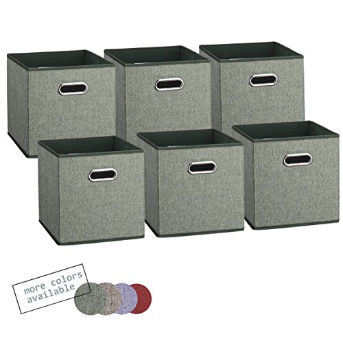 Royexe Set of 6 Foldable Fabric Storage Cube Bins | Collapsible Cloth Organizer Baskets Containers | Features Dual Metal Handles | Perfect Fit for Cube Organizers (Earthy Teal)