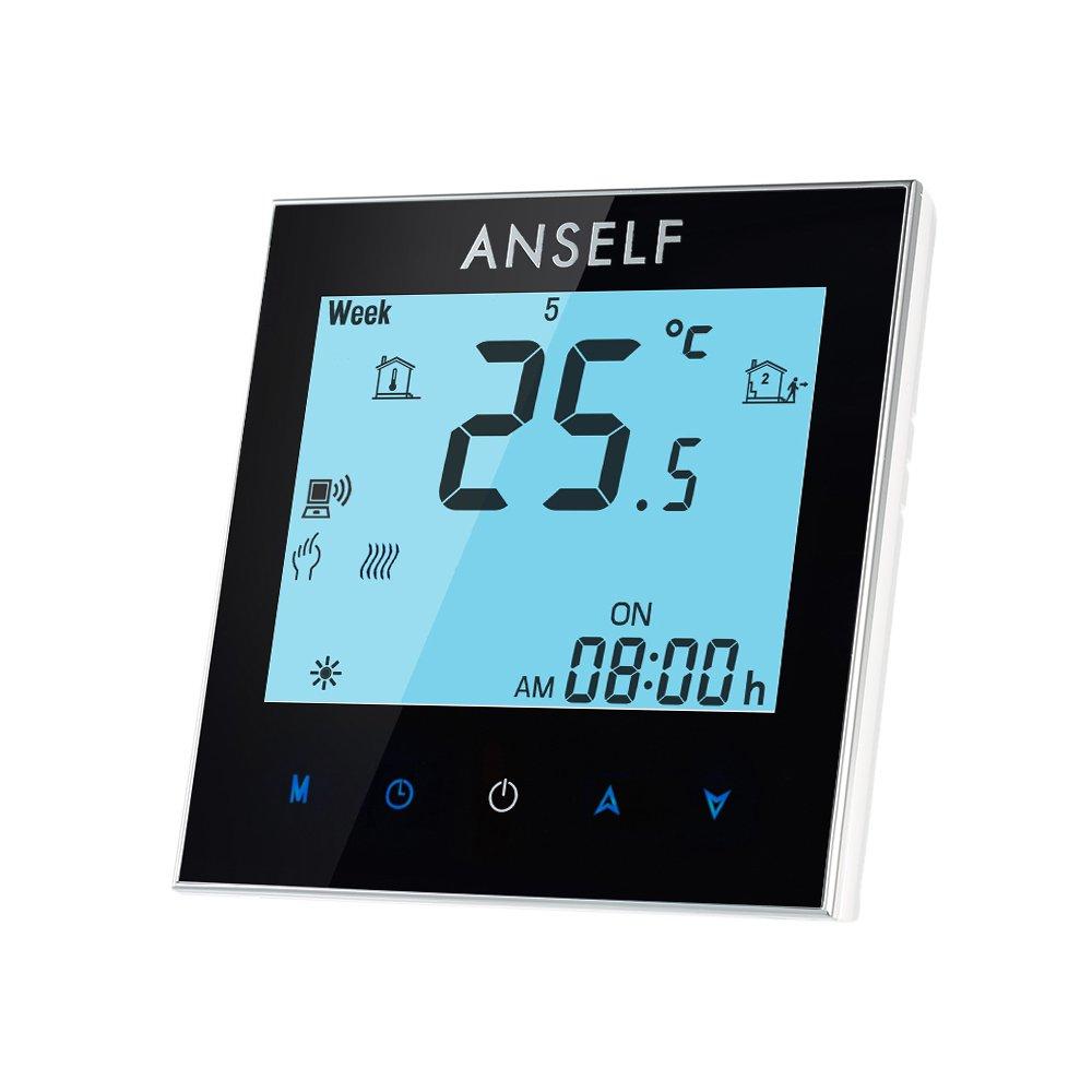 Anself - Termostato Programable de Calefacció n de Agua, WIFI Inteligente de LCD Pantalla Tá ctil, 3A 110-240V WIFI Inteligente de LCD Pantalla Táctil