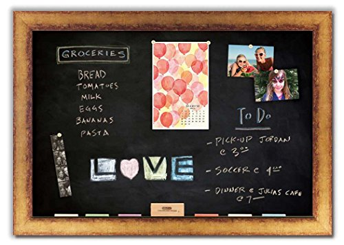 Magnetic Chalkboard with Antique Gold Frame by The Cork Board Shop