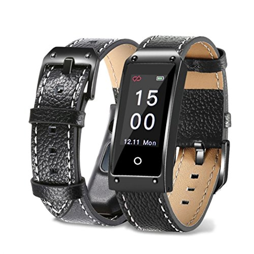 Fitness Tracker,AMA(TM) New Version Colorful Screen Smart Bracelet with Heart Rate Blood Pressure Sleep Monitor Smart Watch Pedometer Tracker Bluetooth for Android & IOS (Black)