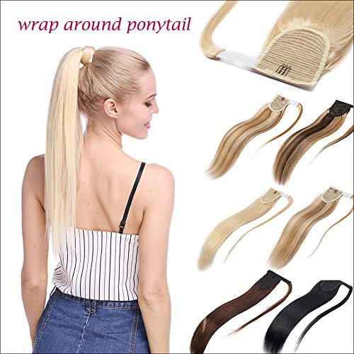 Thick Wrap Around 100% Remy Human Hair Ponytail Extension Long Straight Hairpiece with Comb Clip in One Piece Magic Paste Pony Tail For Women 20''/20 inch 90g #4/27 Medium Brown mix Dark Blonde (Long Straight 20' Clip)