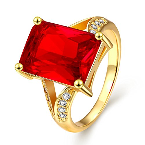 [[Eternity Love] Women's Pretty 18K Gold Plated Imitation Retangle Princess Cut Ruby Crystal Wedding Engagement Band Rings Best Promise Rings for Her TIVANI Anniversary Collection Jewelry] (Costume Jewelry Diamond Rings)