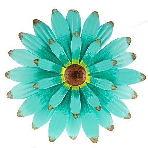 Turquoise Metal Flower Wall Decor