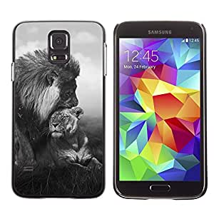 Impact Case Cover with Art Pattern Designs FOR Samsung Galaxy S5 Lion Love Couple Black White Africa Animal Betty shop