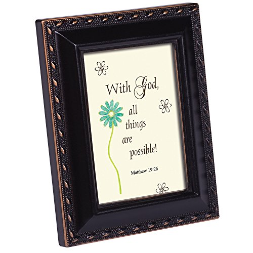 Cottage Garden with God All Things Distressed Black Inspirational Tiny Frame with Easel and Magnet