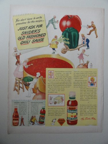 (Snider's Old Fashioned Chili Sauce ,1944 Color illustration, Print Ad.(you don't have to write Grandma for the recipe)Original 1944 Life Magazine Print)