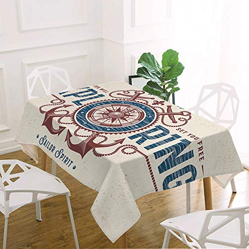 oFloral Compass Table Cloth Compass Rose and Anchors Explorer Journey Voyager Decorative Rectangle Tablecloth Home Decor for Kitchen Dinning Tabletop Buffet Table Party Outdoor Picnic 60x104 Inch ()