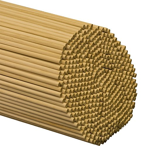 1/4'' inch x 48'' inch Wooden Dowel Rods | Bag of 100 Unfinished Hardwood Dowel Sticks| for Crafts & Woodworking | DIY Projects | Roman Shades | Kite Making - by Woodpeckers by Woodpeckers