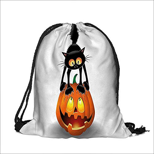 Draw pocket Polyester Backpack Black Cat on Pumpkin Head Spooky Characters Halloween Themed with Large Pocket and Draw Strings 12