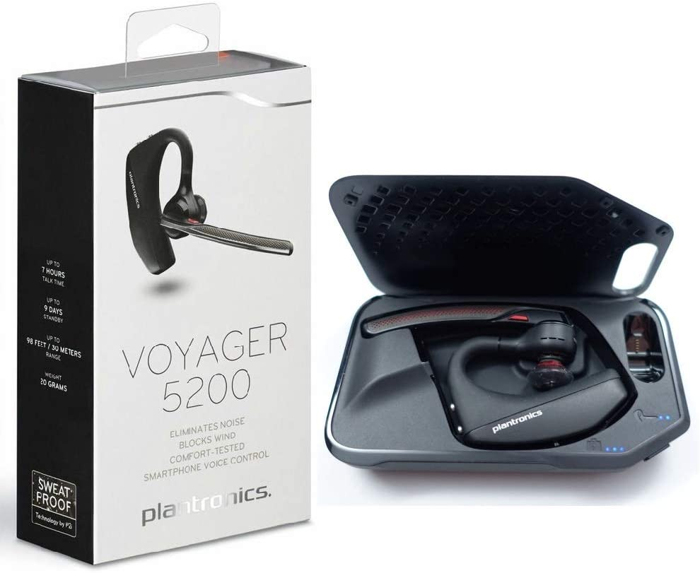 Plantronics Voyager 5200 Bluetooth Headset Earpiece with Charging Case Kit
