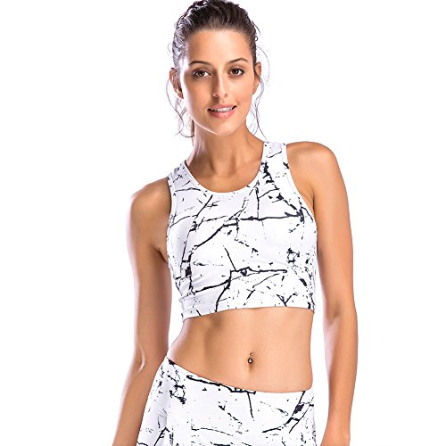 - Move With You Womens Crop Tank Tops Workout Running High Neck Sports Bra with Built-in Bra Racerback