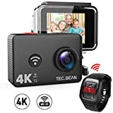 TEC.BEAN 4K Action Camera WiFi 14MP Ultra HD Waterproof Sports Cam 45M Underwater Camera with 170 Degree Wide Angle Lens and 2.4G Remote, Rechangeable Battery and Accessries Kits