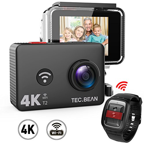 TEC.BEAN 4K Action Camera WiFi 14MP Ultra HD Waterproof Sports Cam 45M Underwater Camera with 170 Degree Wide Angle Lens and 2.4G Remote, Rechangeable Battery and Accessries Kits by TEC.BEAN