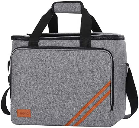 Hanic 30 Liter Large Cooler Bag,Insulated and Leakproof Soft Cooler Collapsible Soft-Sided Coolers with Velcro Flap for Camping, Picnic,Beach, Family Outdoor Activities Grey