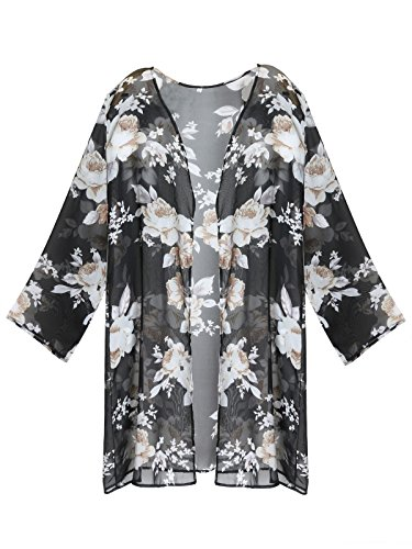GESSY Cover Ups Women,Cover up for Swimwear Women, Ladies Full Sleeve Sheer Chiffon White Floral Printed Beachwear Swimsuit Bikini Beach Short Oversize Coverups Black XXL