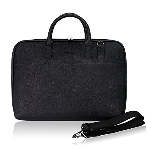 Arvok 13-14 Inch PU Leather Laptop Bag with Handle & Shoulde