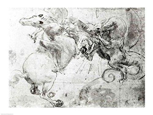 Posterazzi Battle Between a Rider and a Dragon c1482 Poster Print by Leonardo Da Vinci, (24 x 18) from Posterazzi