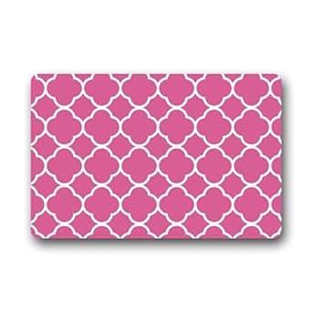 """Novedad Diseño Fondo Rosa Quatrefoil patrón """"Felpudo para interior/exterior Felpudo 23,6(L) X 15,7(W) -limited nuevo"""