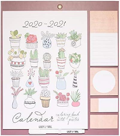 Calendario da Muro 2020/2021 Lily & Val con superficie magnetica per frigorifero e planner mensile da Settembre '20 a Dicembre '21, oltre a numerosi dettagli extra per la pianificazione, 34x30 cm