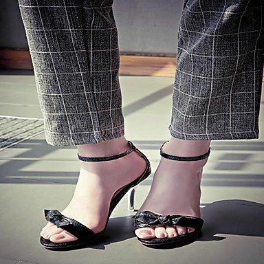 LvYuan Mujer Sandalias Semicuero PU Verano Otoño Paseo Hebilla Tacón Stiletto Dorado Negro Plata 2'5 - 4'5 cms Black
