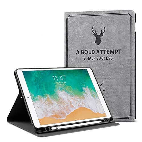 ProElite Smart Deer Flip case Cover for Apple iPad Mini 4/ Mini 5  7.9 inch  with Pencil Holder  Grey