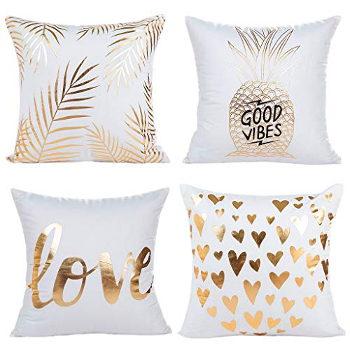 Youngnet Gold Bronzing Flannel Throw Pillow Covers 18x18 inch Pineapple Love Cushion Cases Home Decor, Set of 4