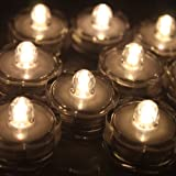 IMAGE 12x LED Waterproof Submersible Tealights Flameless Tealight Battery-operated Sub Lights for Wedding Christmas Thanksgiving Party Events Home Decor Floral Warm White