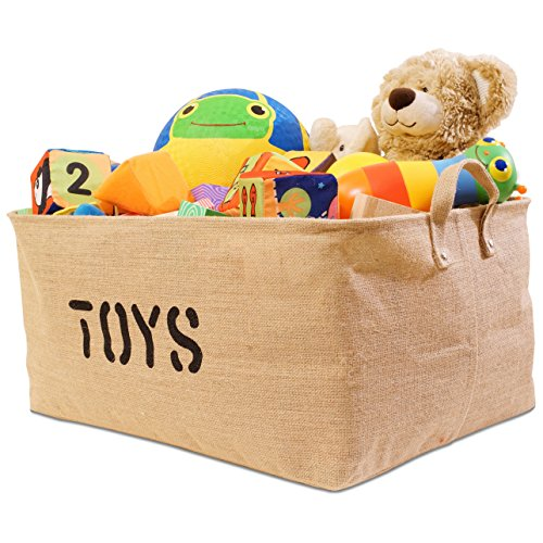 """XXLarge Jute """"TOYS"""" 22""""Long x 15""""Wide ( 3 SIZES) Storage Bin (NEW! Thicker stronger Jute) - Storage Baskets for organizing Baby Toys, Kids Toys, Baby Clothing, Children Books, Gift Baskets"""