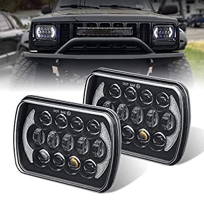 (Pair) 5''x7'' 6''x7'' High Low Beam Led Headlights for Jeep Wrangler YJ Cherokee XJ H6054 H5054 H6054LL 69822 6052 6053 with Angel Eyes DRL (Black 105w Osram Chips): Automotive