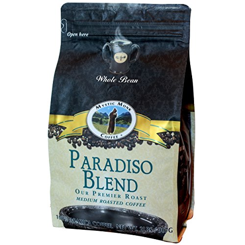 Mystic Monk Coffee: Paradiso Blend Whole Bean (Medium Roast 100% Arabica Coffee) - 32 Ounces