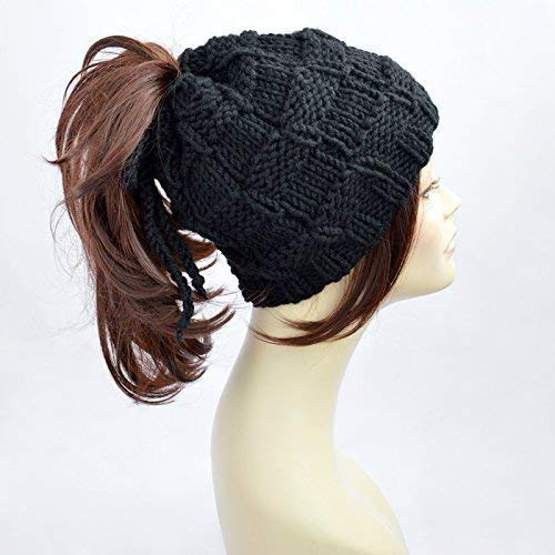 60a71b51c67 Ponytail Hat Black Knitted Hat Womens Hat Ponytail Beanie Bonnet Femme  Beanie With Hole Knit Hat With Ponytail Hole Beanie With Ponytail Hole  Mütze Ponytail ...
