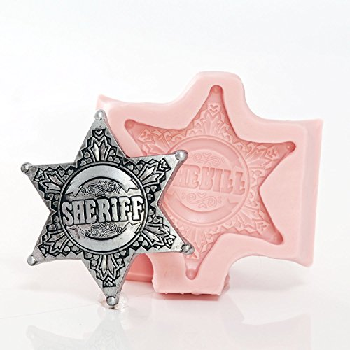 Silicone Sheriff Badge Mold Make Your Own Western Sheriff Badge out of Chocolate, Fondant, Candy, Resin, Clay, Wax, Flexible Food Safe and Easy to Use