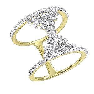 Ladies Unique 14K Gold Designer Diamond Cocktail Ring 0.75ctw (Yellow Gold, Size 7)