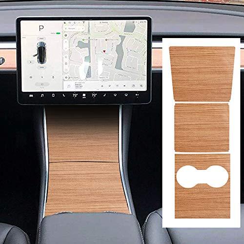 ROCCS Model 3 Center PVC Wood Grain Wrap Kit, Console Protector Sticker Armrest Box Control Decoration for Tesla Model Three 3